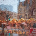 Christmas Market Lights, 12x10ins, SOLD