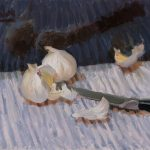 "Norman Long ""Garlic On Stripes"" 12x10ins,  £545, Picture House Gallery"