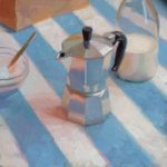 Italian Coffee On Stripes 12 x 12ins, SOLD
