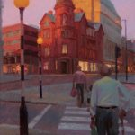 Norman Long, Three Generations Crossing, Albert Square, 28x40ins, SOLD