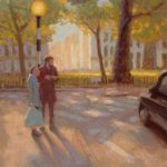 Finding Themselves In Berkeley Square, 14x20 ins, SOLD