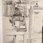 On site drawings in the kitchen