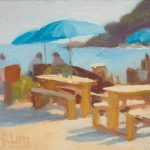 Seeking Shade, Talland Bay Cafe 12x10ins £295 unframed