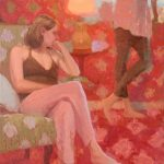 Sisters In The Red Room 18x30ins £1495 Framed