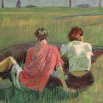 Couple On The Green 29x19ins