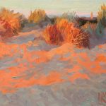 Last Light On Dunes With White Church 12x10ins SOLD
