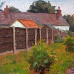 Croston Fence 12x10ins was £375 now £185 unframed