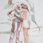 Jester and Bride Oil Sketch 19x25ins SOLD