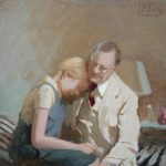 A Father's Comfort 16x16ins